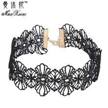 Manxiuni 2017 new Fashion Punk Gothic collar Choker Necklace Boho Black Lace maxi statement necklace women Jewelry wholesale
