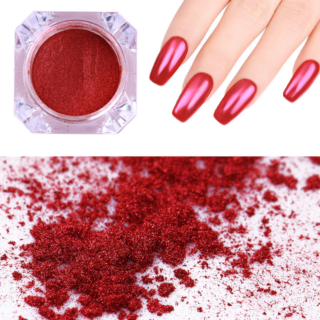 NICOLE DIARY Mirror Red Nail Glitter Powder Art Dust Chrome Pigment Manicure Tips Decoration
