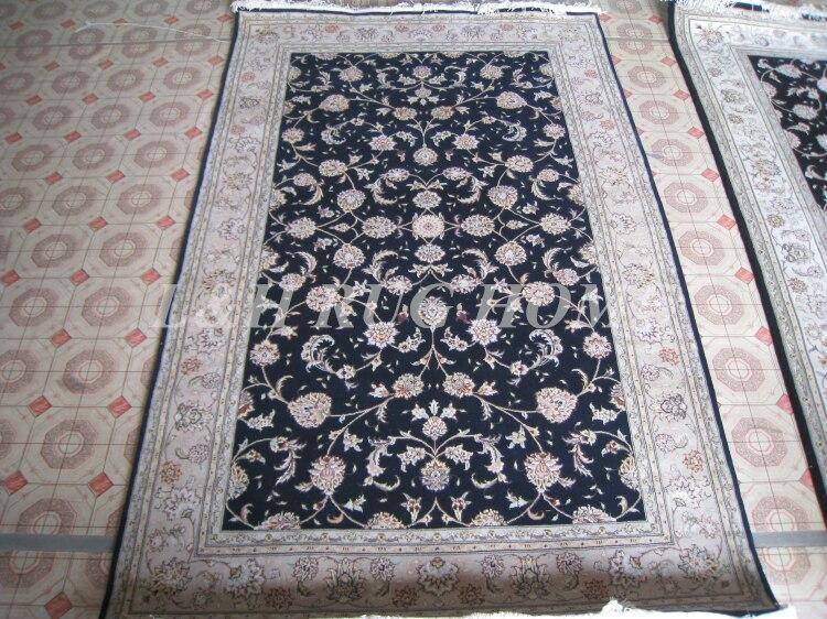 Livraison gratuite 5'X8'160 ligne laine nouée à la main et soie Oriental persan tapis fait main tapis persan