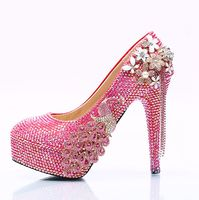 8cm 11cm 14cm high heeled platforms rose pink red ladies wedding shoes crystal flowers slip on woman's party club pumps HS110