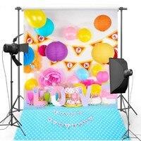 Coloré Ballon Papier Table De Bonbons Polka Dot toile de fond Vinyle tissu imprimé D'ordinateur d'anniversaire photo studio fond