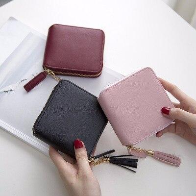 Venda quente carteira curta carteira de couro pu bolsa feminina com zíper & botão bolsa vermelha pequena carteira bolso de moedas cartera billetera