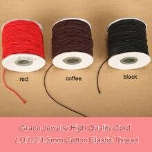 1 rollo/lot1.0/1.2/1.5mm Cubierta Del Cordón De Hilo de Algodón Elástico de Látex De Caucho Negro Rebordear Cadena Collar pulsera Fabricación de Joyas