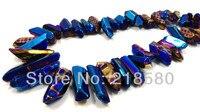 H-TB21 lucido liscio titanio blu quarzo sticks cristallo forata beads briolettes 16 pollice strand 12 - 36 mm lungo