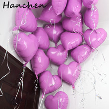 50pcs 18inch candy pink Heart Pure Color Foil Helium Balloon for Party Wedding Valentines Day birthday Decorations Air baloons