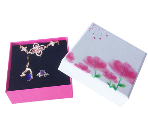 Flower Jewellry Box for Earring and Necklace Wholesale 50pcs/lot 8*8*3cm Hard paper pendant packaging earring ring packaging box