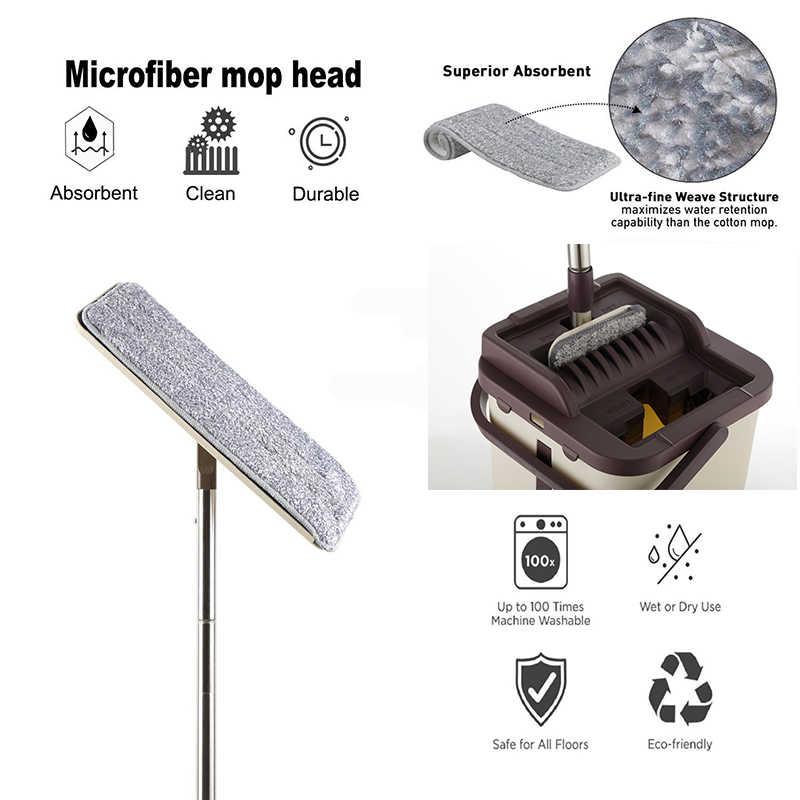 Mão Fácil de Espremer Espremer Esfregão e Balde plana da Limpeza do Assoalho do espanador de Microfibra Mop Almofadas Uso Molhado ou Seco em Madeira laminado Telha