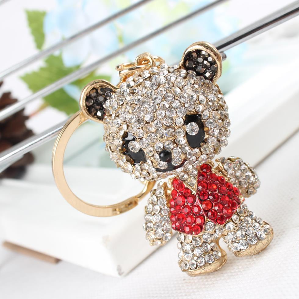 Panda Skirt Red Arm Head Move Pendant Charm Cute Rhinestone Crystal Purse Bag Car Key Ring Chain Jewelry Gift