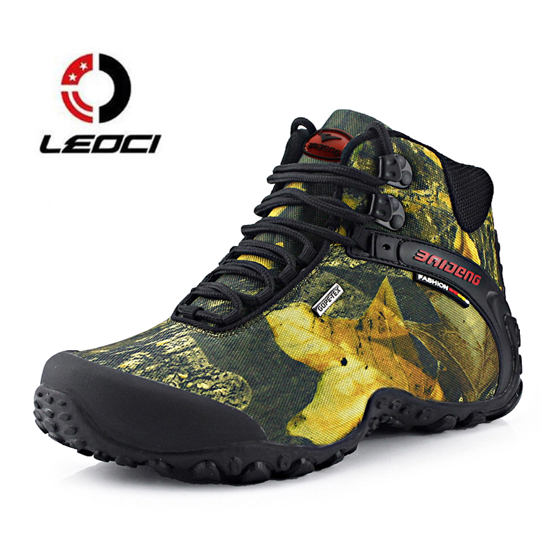 Men Hiking Shoes Waterproof Canvas Trekking Boots Anti-skid Breathable Fishing Camping Climbing Rubber Sole Outdoor Sneakers humtto new hiking shoes men outdoor mountain climbing trekking shoes fur strong grip rubber sole male sneakers plus size