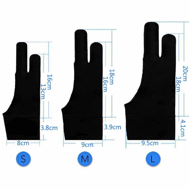 artist drawing glove for any Graphics drawing Tablet Black 2 finger anti-fouling,both for right and left hand black free size