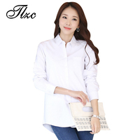 TLZC Velveteen Warm Women White Shirts Long Sleeve Large Size S 3XL Autumn Winter Solid Color