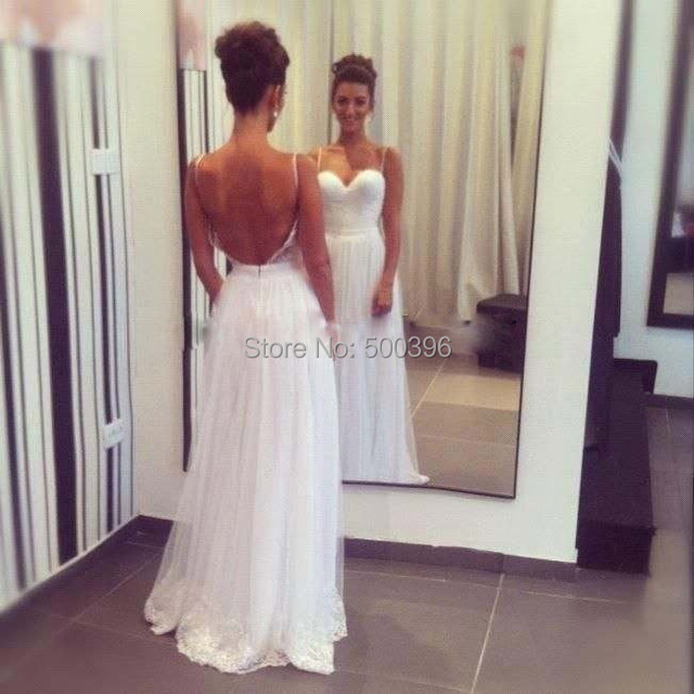 White Beach Wedding Dress 2016 Fashion Backless Bridal Gown Open Back Reception Women Free
