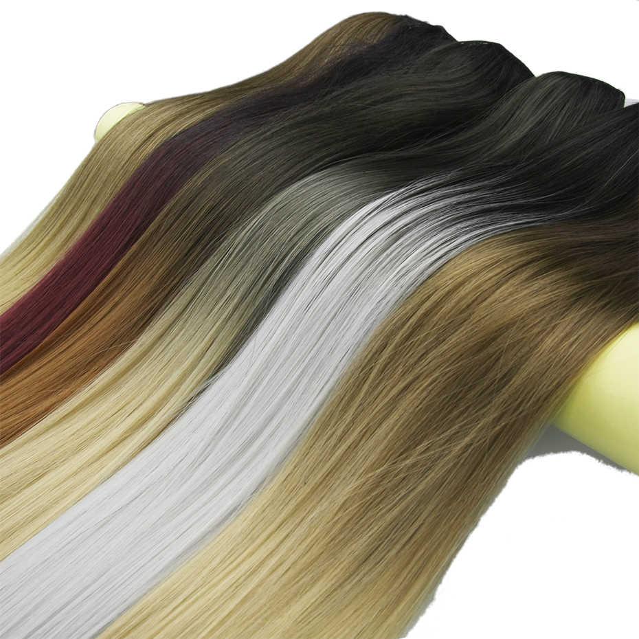 Soowee 20 Цвета длинные прямые черного до коричневого Ombre волос высоких температур Волокно Синтетические волосы Pad клип в волос