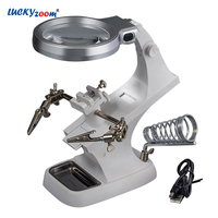 Table Magnifier For Soldering Clip 10 LED Magnifier Lamp 3X 4.5X Magnifying Glass With Illumination Repair Optical Glasses Lens