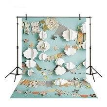 Aviones de papel nube historieta Escena Azul tela de vinilo Impresión de computadora de alta calidad bebé Foto fondo