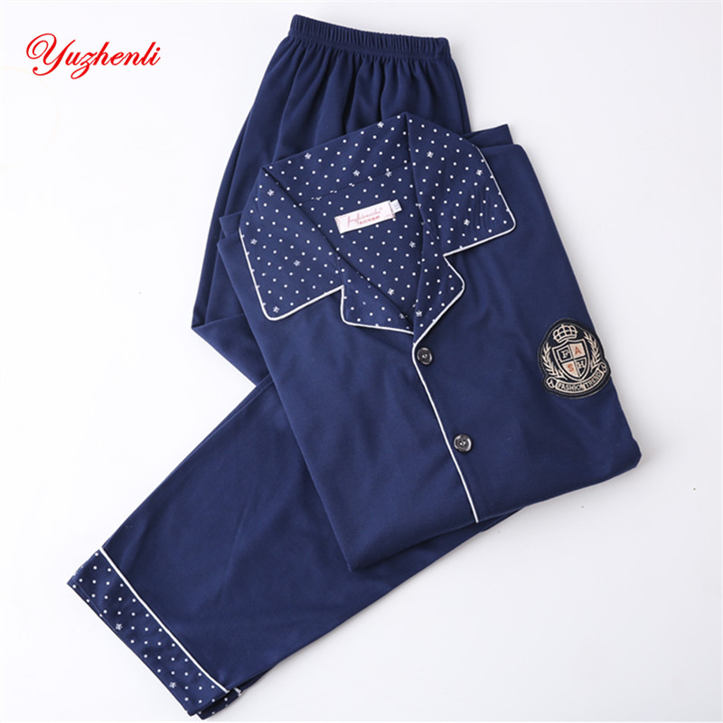 Yuzhenli 2019 Spring Autumn Cotton Pajamas Sets Mens Stripe Casual Sleepwear Male Pyjamas Pijama Hombre Mens Plus XXXL