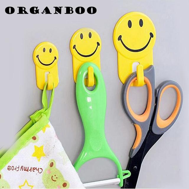 3 Teile/satz Küche Bad Fliesen Kleine Gelbe Farbe Haken Starken Kleben Haken  Kunststoff Smiley