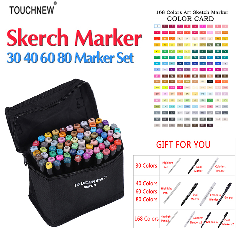 Touchnew Marker 30/40/60/80 Colo Artist Painting Manga Marker Set Best For Dual Headed Sketch Alcohol Based brush Marker w110148 30 40 colors artist double headed manga brush markers alcohol sketch marker marker for design and artists
