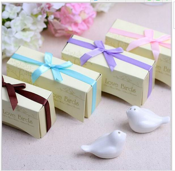 Wedding Favor Gift Ceramic Love Birds Salt And Pepper Shaker Party Souvenir Kind Of Ribbon Can