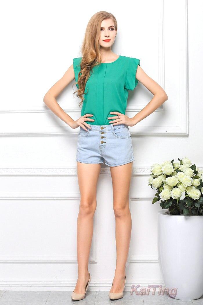 HTB16ATVGFXXXXXHXpXXq6xXFXXXP - Short Butterfly Sleeve Women Blouses Clothing Casual Chiffon Shirt
