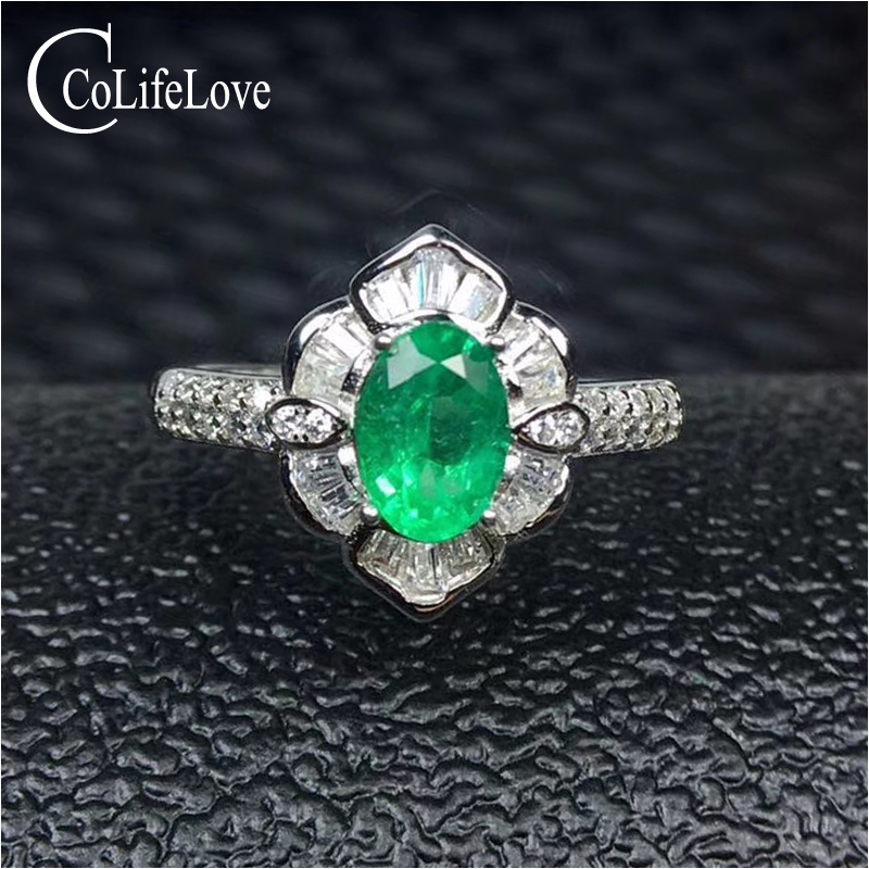 Fashion 925 silver emerald ring 5 mm * 7 mm real natural emerald silver ring flower design 925 silver emerald jewelry girl gift цены