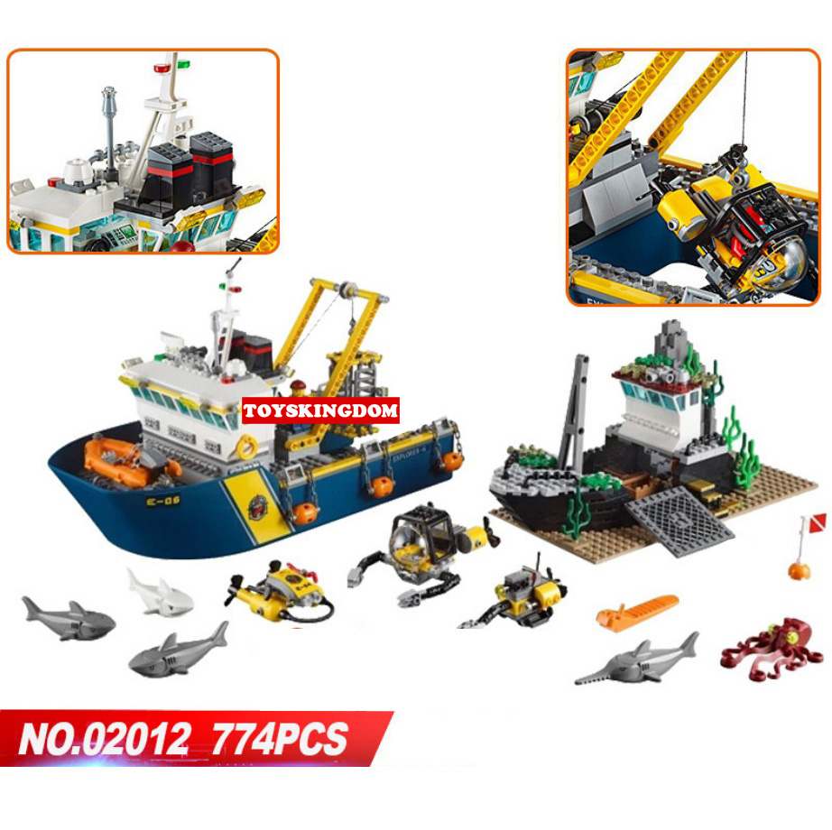 Hot city deep sea exploration vessel building block shark Fisherman Diver octopus figures submarine ship bricks 60095 toys цена