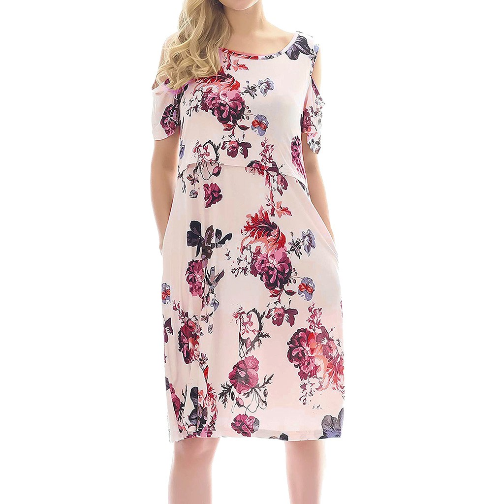 LONSANT Maternity dress Women Floral Print Nursing Nightgown Off shoulder Breastfeeding Dress with Pockets Maternity clothesLONSANT Maternity dress Women Floral Print Nursing Nightgown Off shoulder Breastfeeding Dress with Pockets Maternity clothes