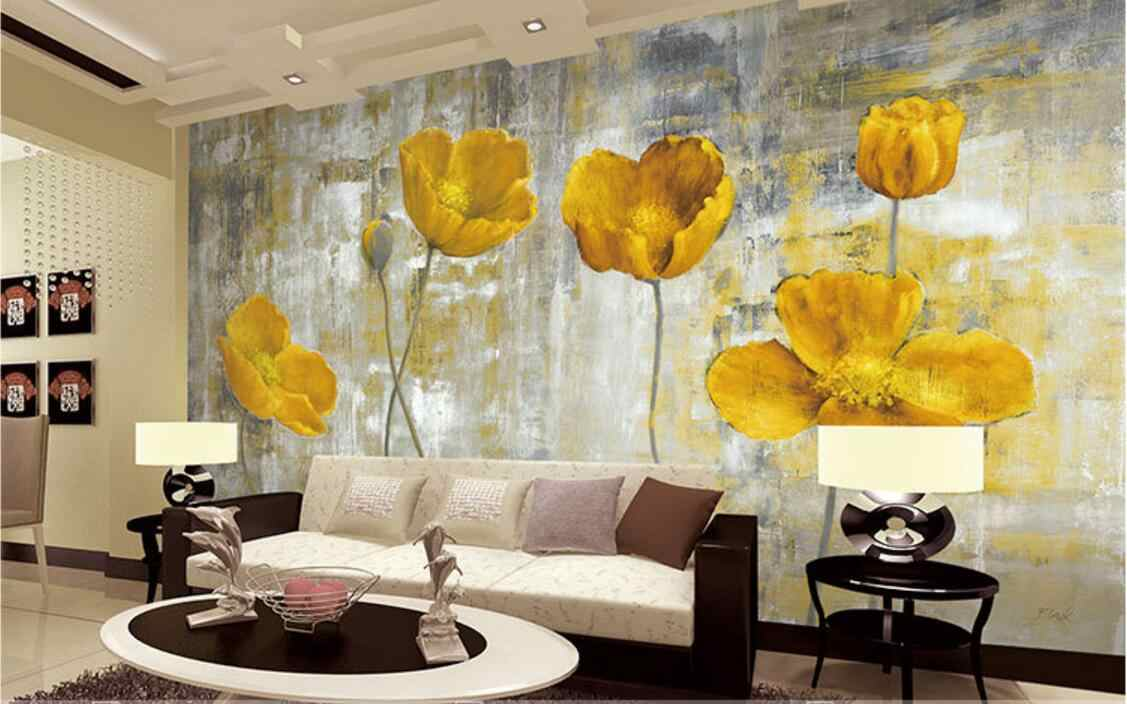 Yellow Flower Wallpapers Murals Living Room Bedroom Wall Art Home Decor Painting papier peint 3d q50