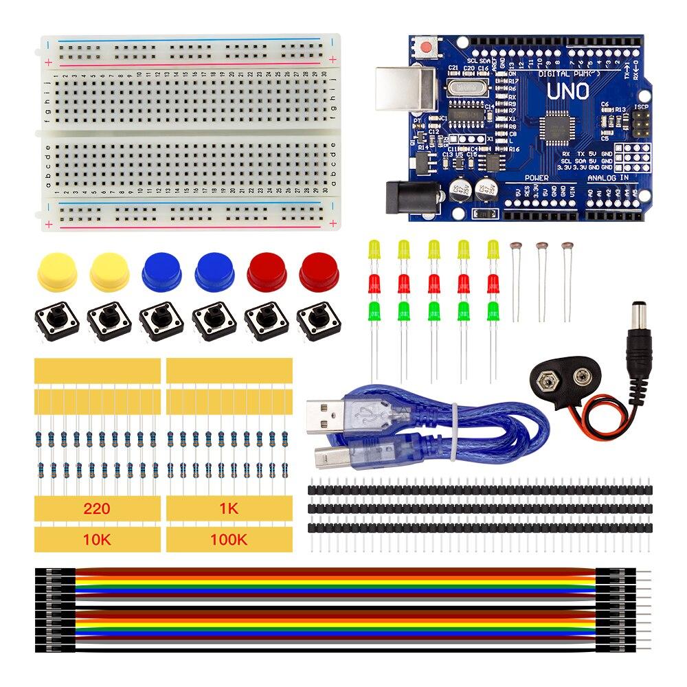 Starter Kit UNO R3 mini Breadboard pulsante ponticello LED per Arduino compatile Spedizione Gratuita