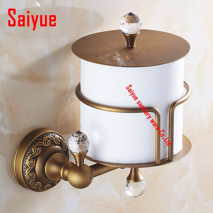 Antique brass crystal Vertical Toilet Tissue Paper Holder Wall Mount Tissue Bracket for bathroom &kitchen retro kitchen toilet paper holder roll tissue holder bathroom accessories antique brass wall mount eu stock