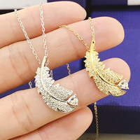 2019 New Feather Necklace 1:1 Swa Female Gold Colour Wings Women Fashion High Quality Fine Jewelry Gift