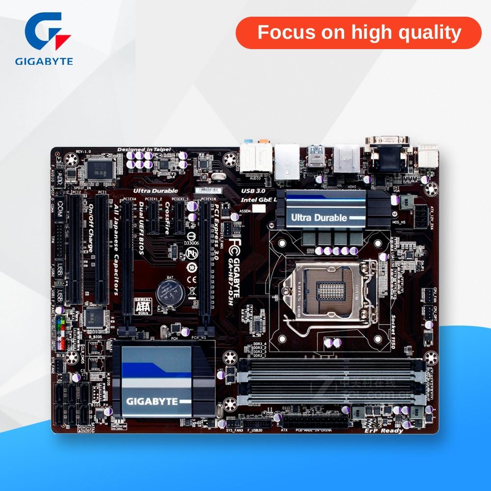 Gigabyte GA-H87-D3H Original Used Desktop Motherboard H87-D3H H87 LGA 1150 i3 i5 i7 DDR3 32G SATA3 USB3.0 ATX asus h87m plus original used desktop motherboard h87 socket lga 1150 i7 i5 i3 ddr3 32g sata3 ubs3 0 micro itx