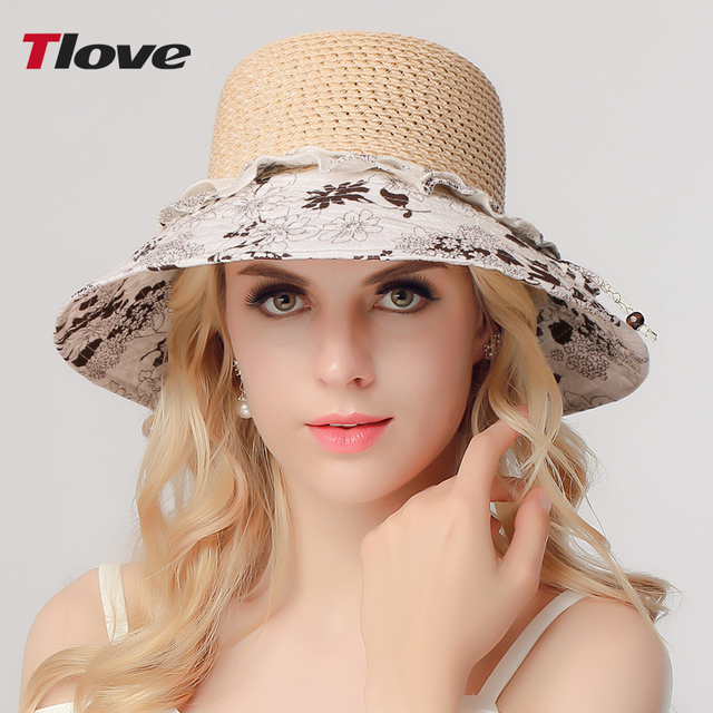 2016 Fashion Lady Straw Sun Hat Women Ladies Summer Beach Panama Wide Brim Sun Cap Foldable Female Outside Hat  B-3151
