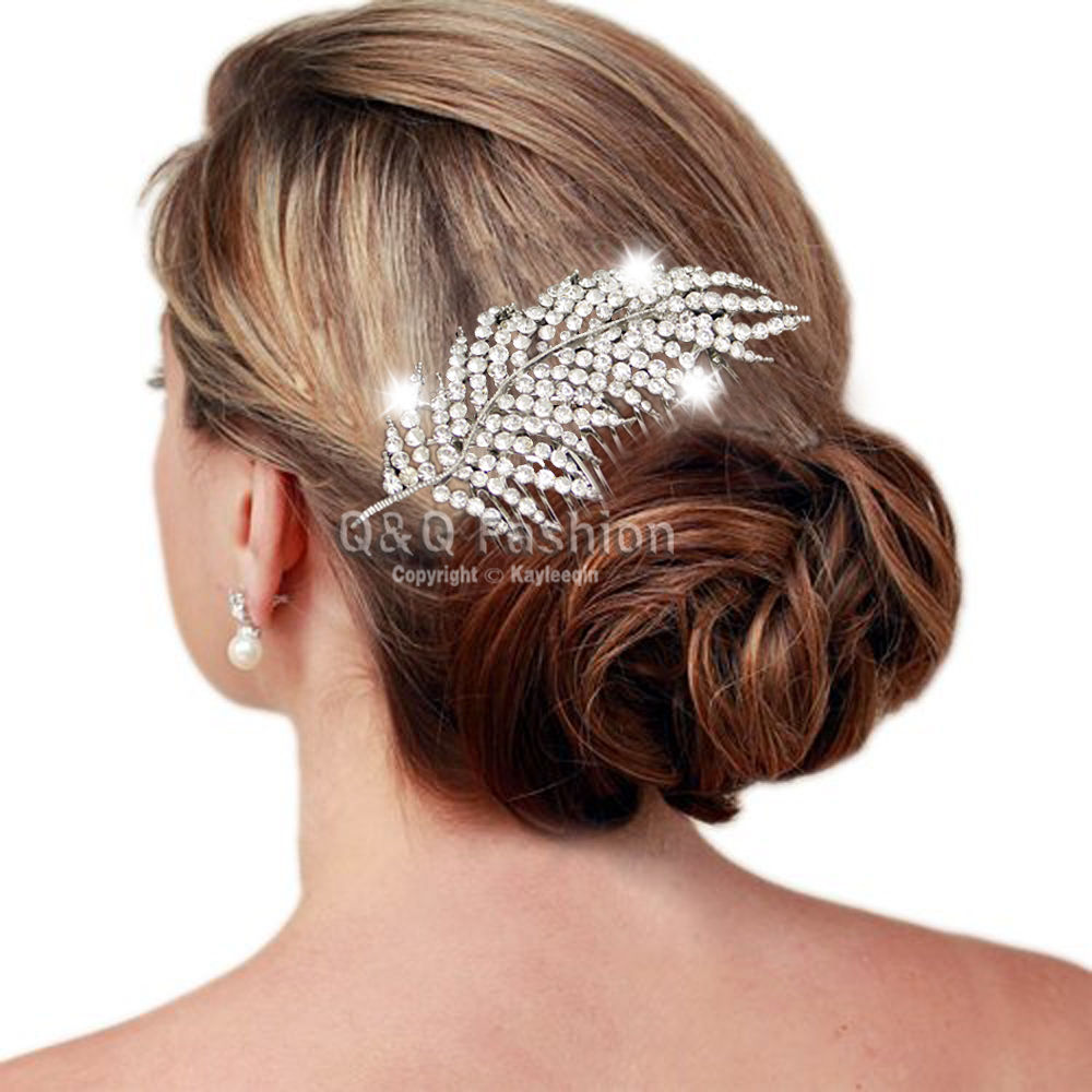 d9dd5c02450 1920s Gatsby Diamante Feather Leaf Bridal Prom Hair Pin Clip Dress Slide  Comb Jewelry 2018 New-in Hair Jewelry from Jewelry   Accessories on  Aliexpress.com ...