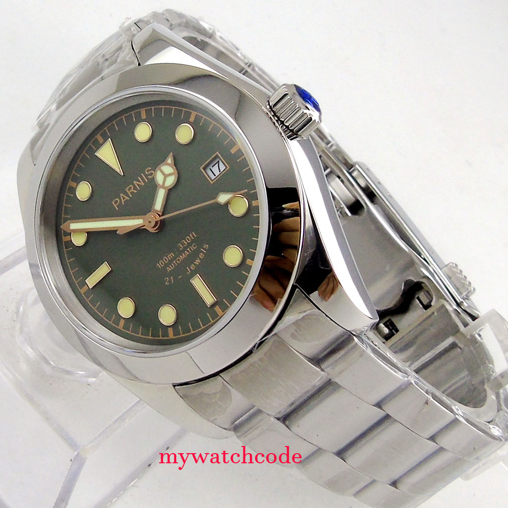 40mm parnis nero e verde quadrante luminoso vetro zaffiro miyota automatic mens watch