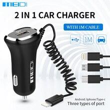 MEIDI 2.4A Cargador de Coche Universal USB de Carga Rápida 2 en 1 Coche cargador con cable longitud 1 m para samsung iphone 5 6s teléfono inteligente