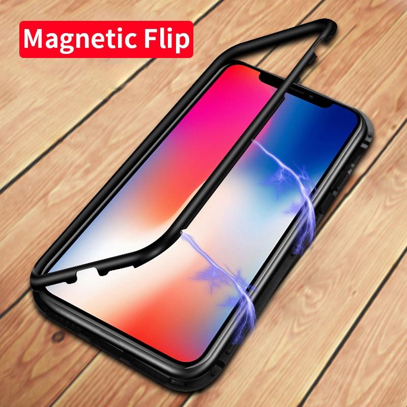 Lujo magnética adsorción caso para iPhone X 8 7 más vidrio templado volver imán incorporado para el iPhone 7 8 cubierta de parachoques de Metal