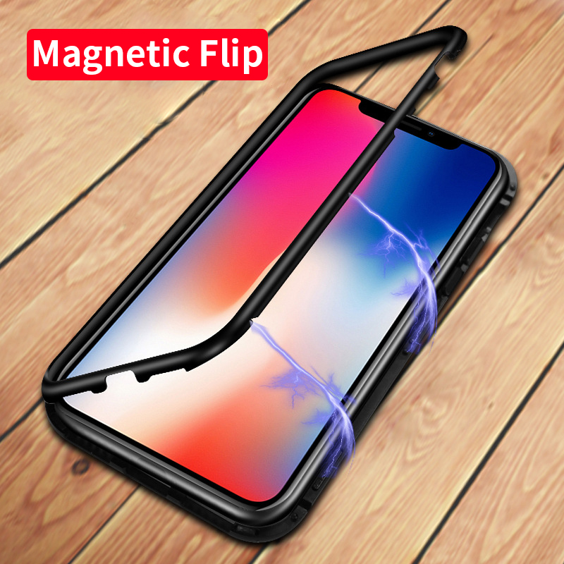 Luxo Magnetic Adsorção Case para iPhone X 8 7 Plus Temperado vidro de Volta Caso Ímã Embutido para o iphone 7 8 Metal Bumper cobrir