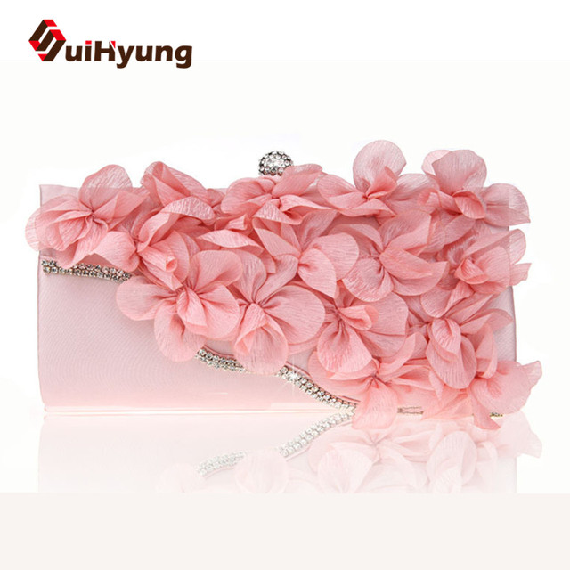 New Women s Flowers Bags Fashion Design Diamond Flower Party Evening Bags  Wedding Small Clutch Purse Chain de68fd5642db