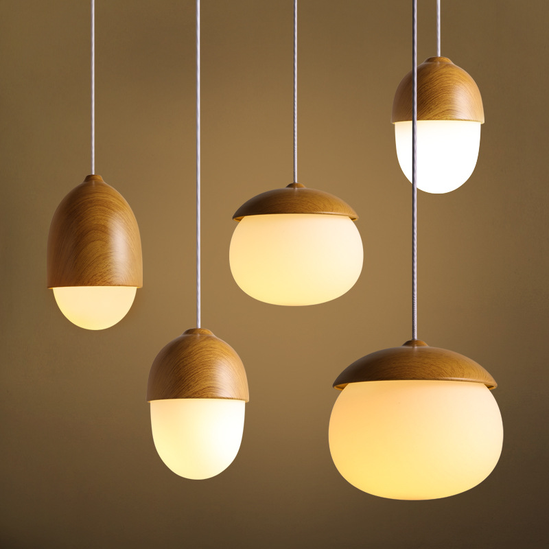 ФОТО Creative Wooden Color Pendant Lamp Nordic Suspension E27 110V 220V Luminaire Hanging Lamp For Decor Home Cafe Bar