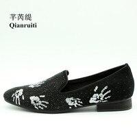 Men Footwear Shoe Slip on Loafer Finger Printing Low Square Heel Rhinestone Luxury Handmade Men Smoking Casual Shoes EU39 EU46