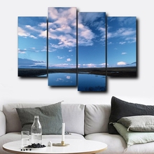 Laeacco 4 Panel Wall Artwork Blue Sky Posters and Prints Modern Canvas Calligraphy Painting Nordic Home Living Room Decor