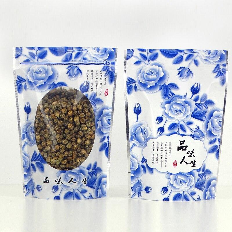 500 шт./лот, синие цветы, стоячий мешок, Ziplock, прозрачная сумка для упаковки с окном, самоблокирующиеся пластиковые пакеты для еды, розничная уп