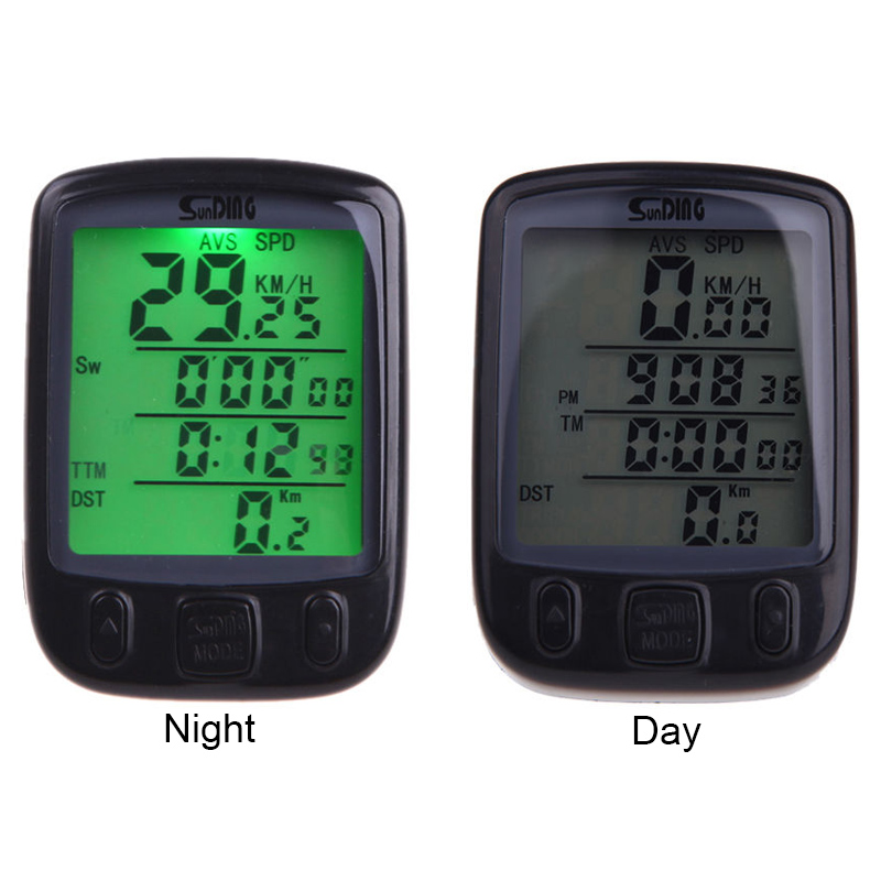 Sunding SD 563B Waterproof LCD Display Cycling Mixsight Bike Bicycle Computer Odometer Speedometer with Green Backlight Cycling js lcd display for electric bicycle waterproof original connector manual control panel mount on the bike handlebar 36v cycling