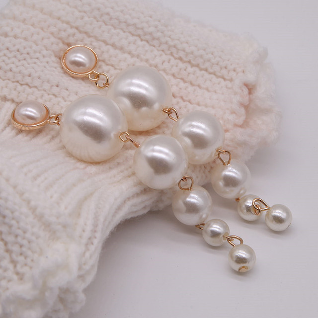 Trendy Elegant Created Big Simulated Pearl Long Earrings Pearls String Statement Drop Earrings For Wedding Party Gift e0207 2