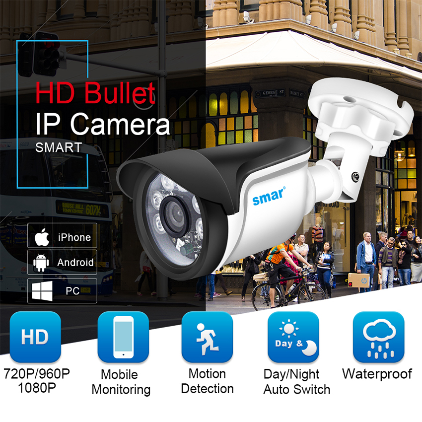 Image 2 - Smar H.264 Bullet IP Camera 720P 960P 1080P Security Camera Outdoor/Indoor 24 hours Video Surveillance Onvif POE 48V Optional-in Surveillance Cameras from Security & Protection