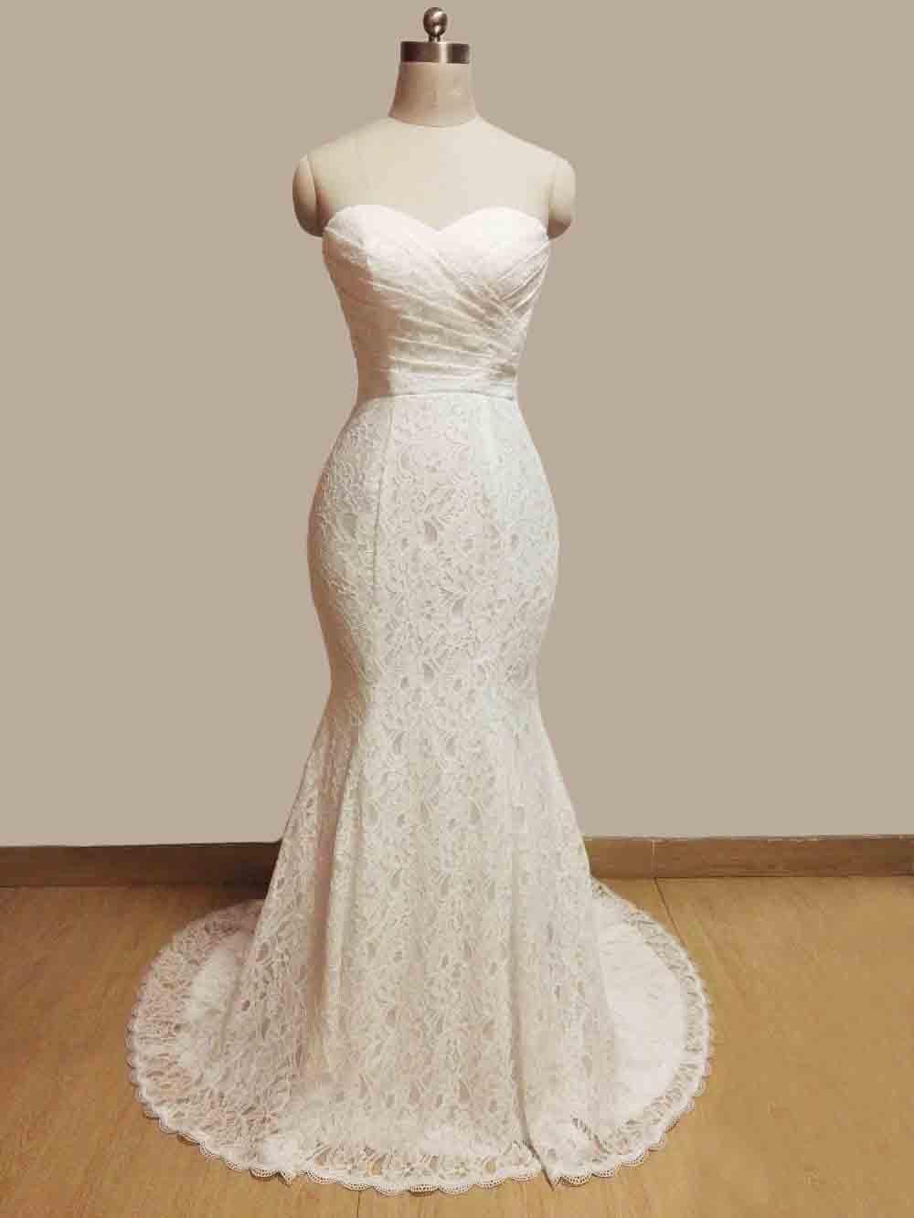 JIERUIZE vestidos de novia White Lace Mermaid Wedding Dresses 2017 Sash Sweetheart Lace Up Back Wedding Gowns abiti da sposa 4