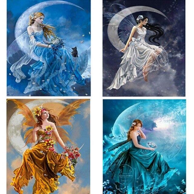 5D DIY Diamond Painting Girl Moon Angel Mosaic Round Diamond Painting Cross Stitch Kits Embroidery Portrait Home Decor