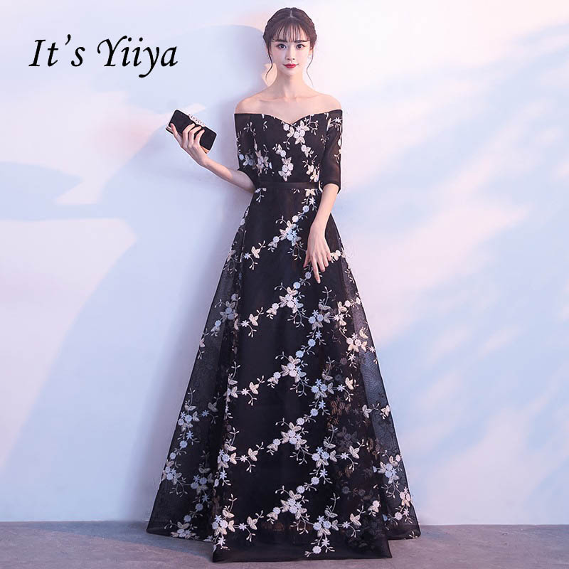 It's YiiYa Black Backless Half Sleeves Floral Draped Elegant Lace Up Tulle Party Formal   Dress   Floor Length   Evening     Dress   LX068
