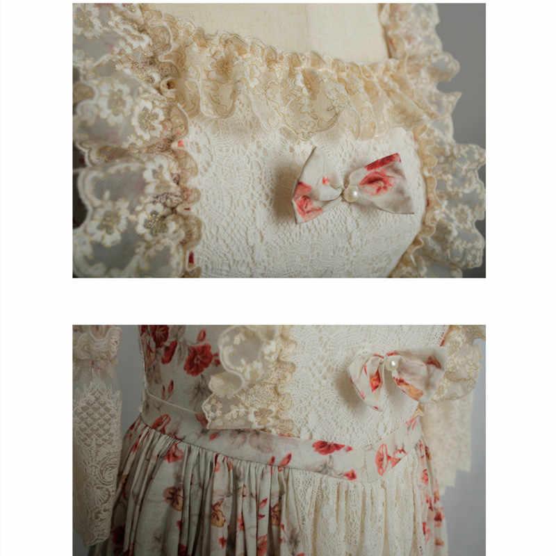 Autunno della molla Delle Donne Dell'annata di Stile Barocco Rococò Stile Patchwork di Pizzo di Cotone Vestito Lungo Delle Signore Retrò Elegante Lolita Abiti Floreali